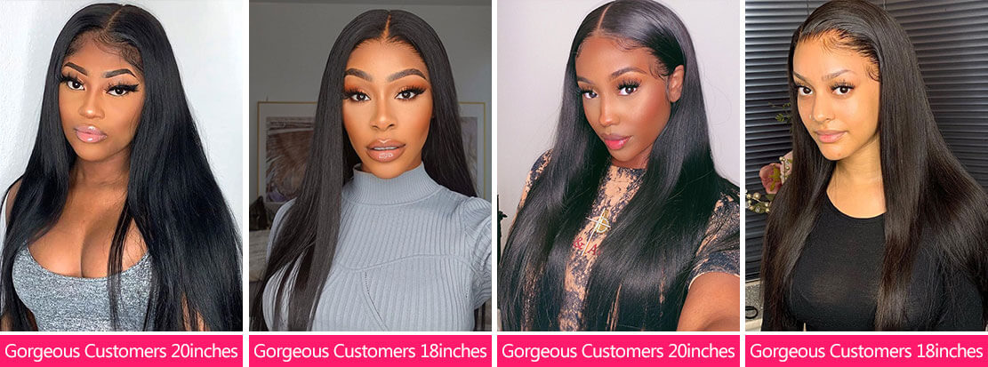 4x4 Human Hair Lace Wigs Customer Show